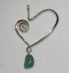hammered asymetrical heart with turquoise