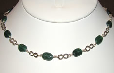 aventurine and hammered links necklace