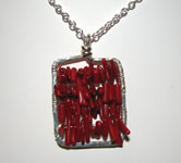 silver frame with red coral