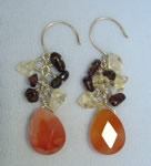 Autumn colors briolette cluster earring