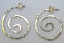 hammered sterling silver spiral earrings