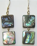 paua shell squares earrings