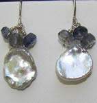 Petal pearl with iolite cluster earrings