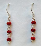 tripple coral round bead drop earrings