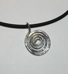 sterling silver hammered spiral on black rubber cord with sterling lobster clasp
